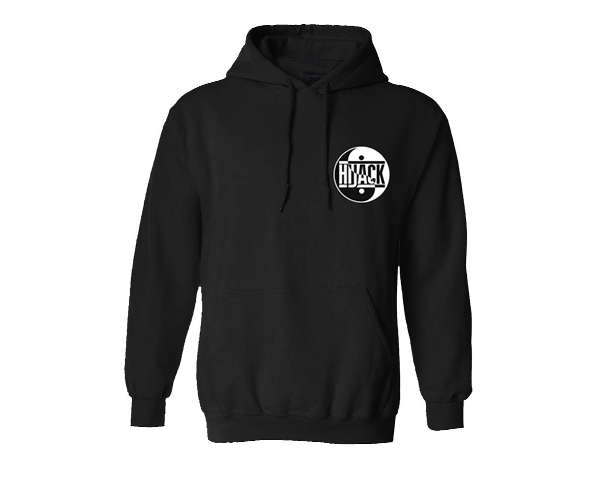 classic black hijack logo breast hoodie